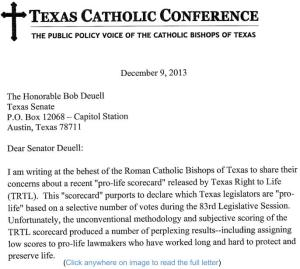 Letter from Texas Conference of Catholic Bishops to Sen. Bob Deuell [click on image to read full letter]