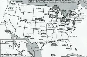 Map of Internment Camps Populated by German-Americans