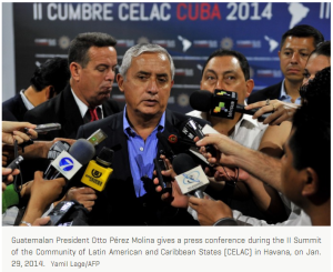 Guatemalan president at Jan. 29, 2014 press conference to protest U.S. withholding of military aid