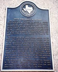 marker irish immigrants in refugio