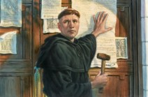 Martin Luther posting his 95 theses to the Wittenberg door