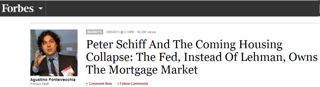 "Click on image above to read the full article. Peter Schiff decries 'irrational exuberance': ""The U.S. government is guaranteeing all mortgages, and then buying them up. it's an artificial market, but the Fed, rather than Lehman Brothers, owns it."""