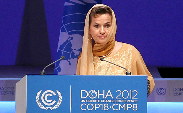 Christiana Figueres, Executive Secretary of the United Nations Framework Convention on Climate Change (UNFCCC)  speaks at the opening session of the United Nations Climate Change conference in Doha, Qatar, Monday , Nov. 26, 2012.  U.N. talks on a new climate pact resumed Monday in oil and gas-rich Qatar, where negotiators from nearly 200 countries will discuss fighting global warming and helping poor nations adapt to it. (AP Photo/Osama Faisal)