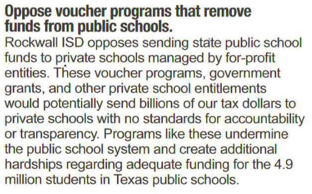 Oppose voucher programs that remove funds from public schools