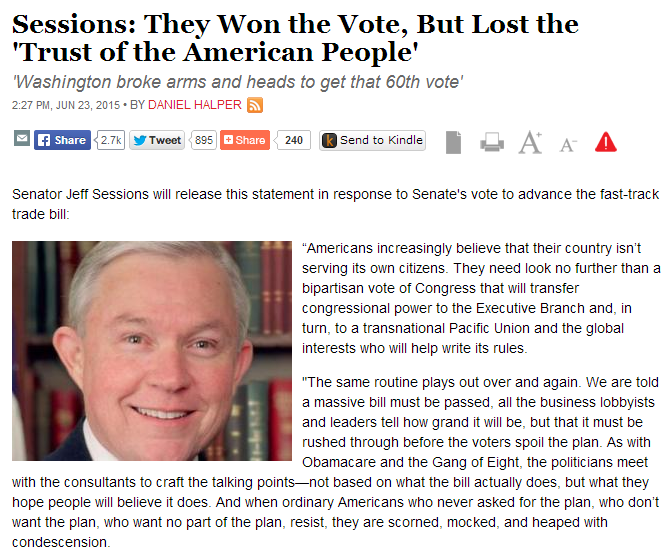 jeff sessions - they won the vote but lost the trust  of the American people