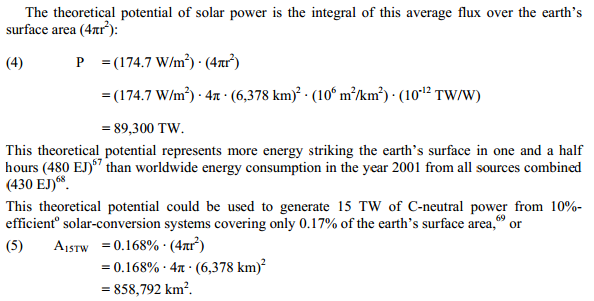 "Excerpt from US Government Sandia Lab report titled ""Solar FAQs"", page 10"