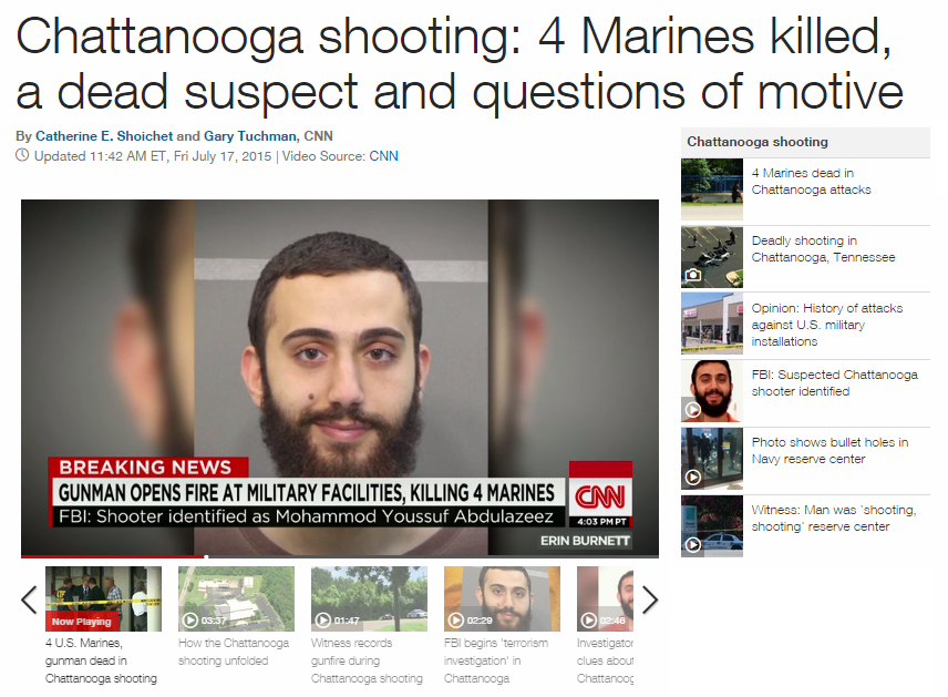 On Thursday, July 16, Kuwaiti immigrant murders four U.S. Marines to celebrate Ramadan