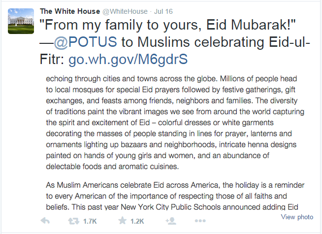 "Significance? Wikipedia explains, ""Muslims wish each other ""Eid Mubarak"" after performing the Eid prayer."""