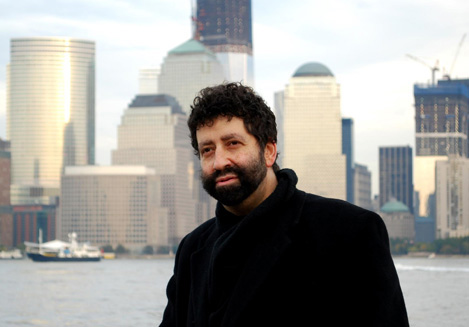 Rabbi Jonathan Cahn with Manhattan skyline in background - click on image for video of his presentation at Gateway Church