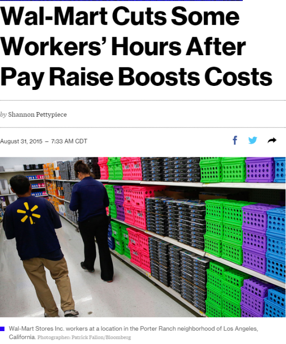 wal-mart cuts some workers hours after pay raise boosts costs