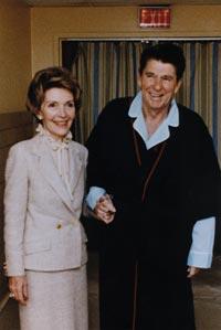 Ronald Reagan in recovery from gunshot