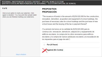 Vote Against (En Contra) RISD Bond Proposition