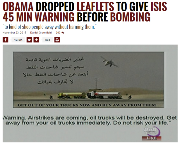 Front Page Magazine: OBAMA DROPPED LEAFLETS TO GIVE ISIS 45 MIN WARNING BEFORE BOMBING