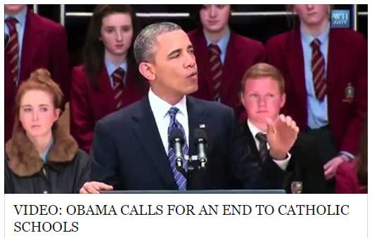 obama calls for an end to catholic schools