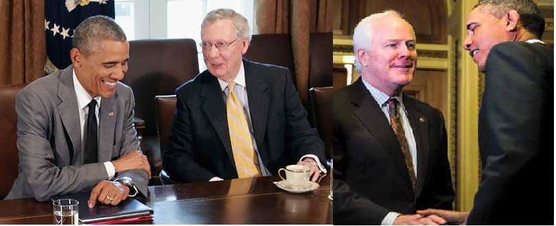 mitch mcconnell and john corynyn with barack obama