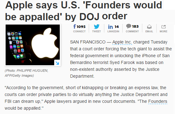 Apple says us founders would be appalled by doj order