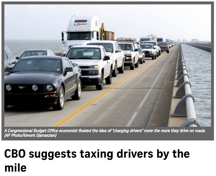 cbo suggests taxing drivers by the mile