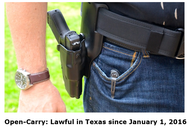 open carry lawful in Texas since January 1 2016