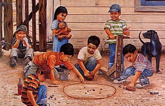 boys playing marbles in the dirt