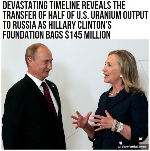 hillary transfer of half of us uranium to russia
