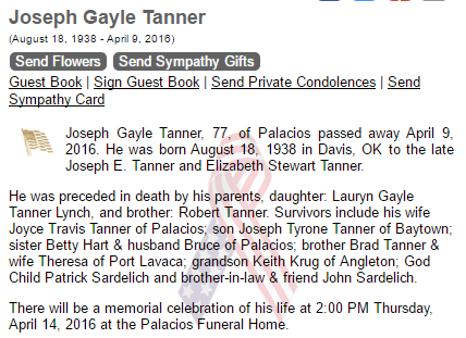 joe gayle tanner obituary