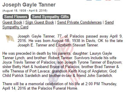 joe gayle tanner obituary