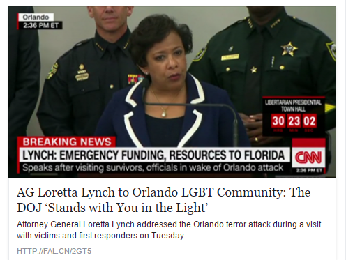 loretta lynch says DOJ stands with LGBT community