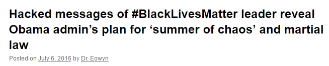Hacked messages of BlackLivesMatter leader reveal Obama admins plan for summer of chaos and martial law
