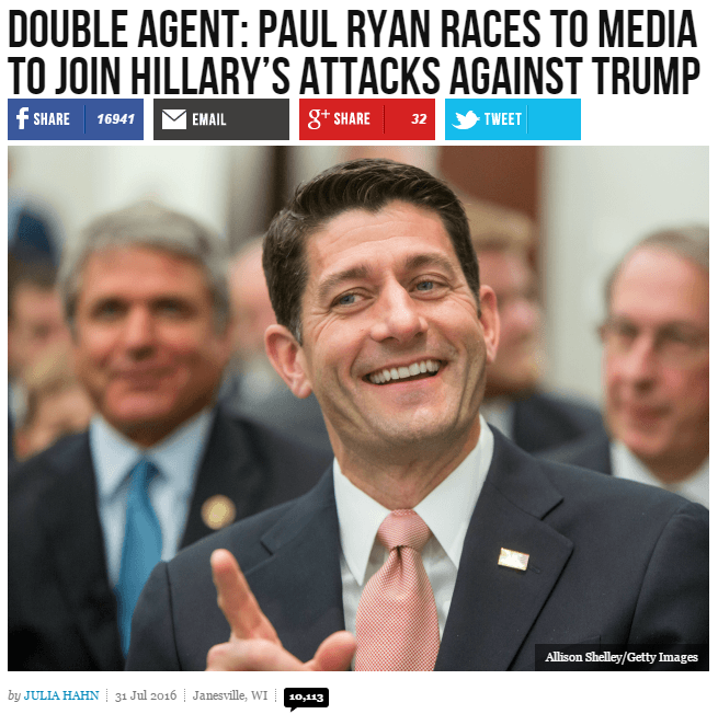 paul ryan races to media to join hillarys attacks against trump