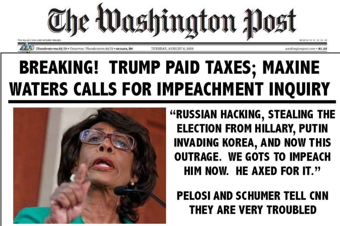 maxine waters faux front page the washington post - stupid remarks about Trump