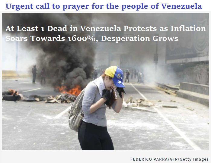 urgent call to prayer for Venezuela