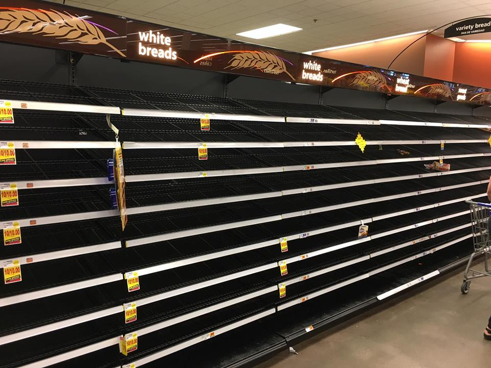 Bread Aisle in Kroger in Alvin as Hurricane Harvey advances on the Texas gulf coast 8-24-17