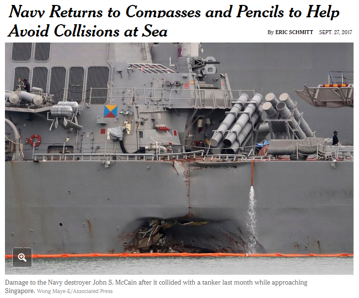 Navy returns to compasses and pencils to help avoid collisions at sea