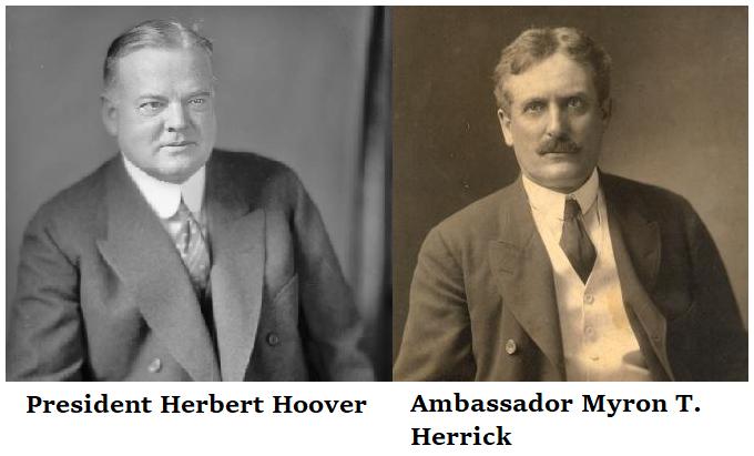 president herbert hoover on left - ambassador myron t herrick on the right