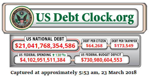 national debt as of 23 March 2018