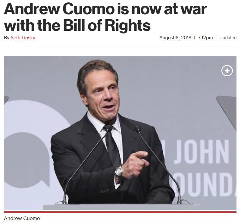Andrew Cuomo is now at war with the Bill of Rights