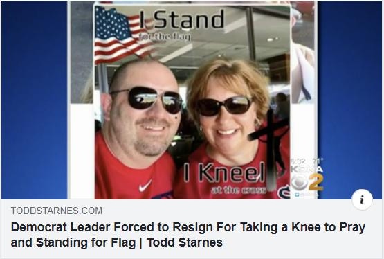 democrat leader forced to resign for taking a knee to pray and standing for the flag